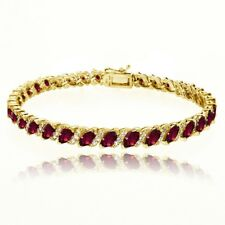 Created Ruby Tennis Bracelet with White Topaz Accents in Gold Plated 925 Silver