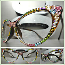 VINTAGE 60's CAT EYE Style Clear Lens EYE GLASSES Multi Color Crystals Handmade