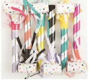 Party Blowouts/Noisemaker 6pk Fringed Assorted Colours - Party Supplies Favours