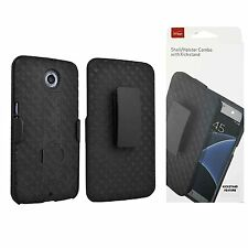 Verizon Shell Holster Combo Cover Case Skin w/Kickstand for Google Nexus 6 Black