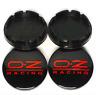 4 x 56mm OZ Racing Schwarz Rot PVC Satz Nabendeckel Felgendeckel Caps