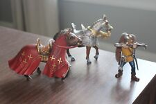 Lot Schleich Germany 2 Horses Knights Toy Figure Fantasy Pretent Play Red Silver