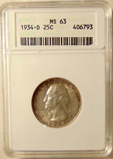 1934-D Washington Quarter - ANACS MS63 -Very Pretty BU Coin  FREE SHIPPING & INS