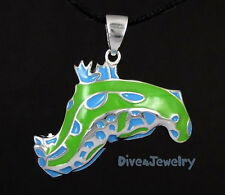 Sterling Silver Blue Green Nudibranch Sea Slug Worm Pendant Necklace diver Sea