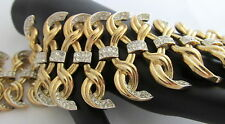 Vintage Crown Trifari Huge Wide Link Gold Tone Bracelet Twists Rhinestones WOW!!