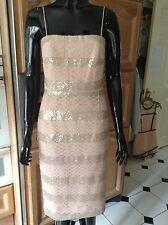 Phase Eight Shell Pink corto Sequinned Cóctel Vestido -10 - Bnwt-Rrp £ 150