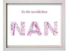 Personalised Nan word art  Christmas Present 005 Mothers day Gift For Her