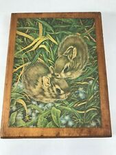Baby Rabbits Vintage Print on Wood Plaque Vintage Nursery Decor