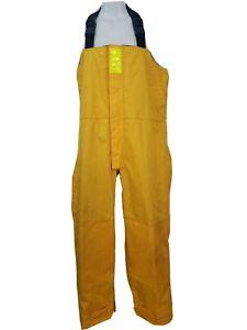 Boat US Stearns Men Bib Overalls Pants L Yellow Fishing Heavy Waders Waterproof