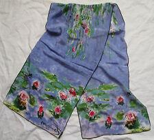 """-Superbe Foulard   Echarpe IRE -Design """"Monet"""" 100% soie  TBEG  vintage scarf"""