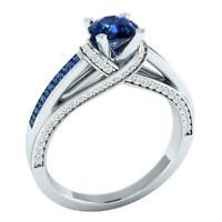Silber überzogene Schmucksachen runder Schnitt blauer Saphir-Mode-Partei-Ri