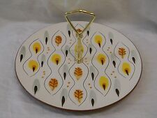 Vintage Stangle Trenton NJ Amber GLO Appetizer Plate with handle. Excellent