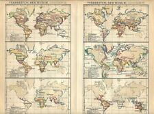 Carta geografica antica ANIMALI NEL MONDO Tav 3/4 1890 Old antique map