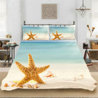 Single/Double/Queen/King Bed Quilt/Doona/Duvet Cover Set Sand Beach Starfish