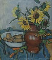 Signiert F Hulle - Stillleben mit Sonnenblumen und Gemüse