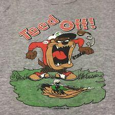 Vintage Taz Rayon Tri-blend Medium T-Shirt Soft Golf Cartoon Warner Brothers