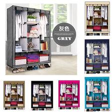 Portable Wardrobe Closet Storage Organizer Cupboard Cloth Rack With Shelves UK