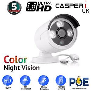 5MP POE Bullet IP Camera Ultra HD Color Night Vision 3.6MM Lens Outdoor 1920P UK