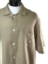 POLO RALPH LAUREN Linen Sleepwear Tan Sleep Shirt sz XL Nightshirt Pajama Top