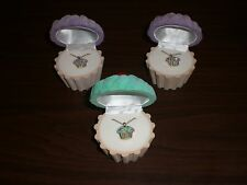 SET OF 3 IMPERFECT CUPCAKE NECKLACES IN VELOUR CUPCAKE GIFT BOX 2-PURPLE 1-GREEN