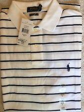Nuevo con etiquetas Ralph Lauren Para Hombres Camisa Polo Algodón Xl Slim Fit Blanco Rayas Azul Marino Rrp £ 75