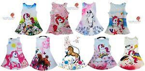 Mädchen Kleid Einhorn Sommerkleid Minikleid Pferde ärmellos Sommer 4-14 Jahre
