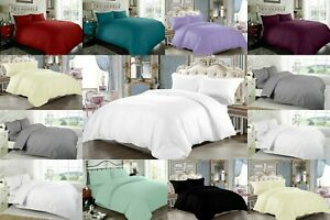 PLAIN DUVET COVER BEDDING SET & PILLOWCASES 200TC QUILT COVER DOUBLE KING SIZE
