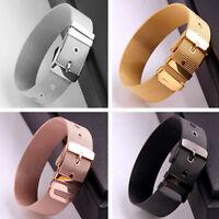 Silver/Gold/Rose Gold/Black Belt Chain Stainless Steel Men/Women Bracelet Bangle