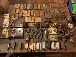 Large Mixed Joblot Of antique/vintage  brass hinges & Door Locks