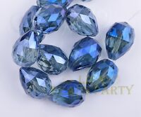 24X17mm 5pcs Eye Blue Teardrop Faceted  Crystal Glass Loose Spacer Beads