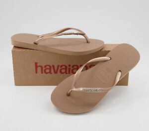 Womens Havaianas Slim Metal Crystal Logo Flip Flops Rose Gold Sandals