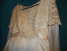 Vintage 60s lace and satin handmade hand sewn Wedding Dress gown