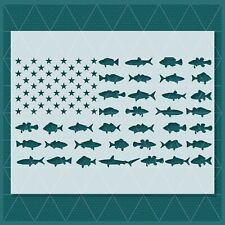 Fishing Fish Flag stencil - Reusable & Durable - Hunting