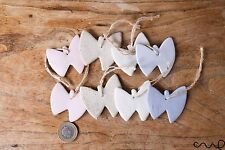 Handmade Set of 8 Ceramic Wedding Tags Hanging Butterflies Assorted Colour Gift