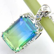 Shine Square Watermelon Tourmaline Gems Silver Chain Pendants Necklaces Women