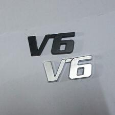 V6 1PC Chrome + 1PC Black Metal Emblem Badge Sticker 3D Sport v8 High Luxury 4wd