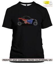 Can-Am-Maverick-x3-American-Flag-Utvwrap Unisex Black Cotton T-shirt Size S-5XL