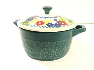 The Pioneer Woman Stoneware Vintage Floral Mini Casserole Dish With Lid EUC