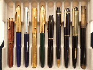 9 WAHL AND EVERSHARP FOUNTAIN PENS 1 PENCIL -- GOLD NIBS -- LOT 364