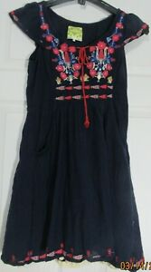WOMEN'S FLOREAT ANTHROPOLOGIE CAP SLEEVE  TUNIC NAVY BLUE EMBROIDERED 8 P VGUC