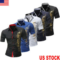 US Luxury Men's Stylish Casual Dress Shirt Slim Fit T-Shirt Short Sleeve Tops