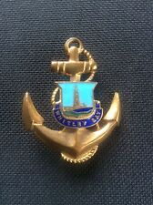 Rare Vintage Old WHITLEY BAY LIGHTHOUSE Enamel on Brass Anchor Badge Pin