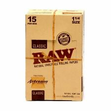 "RAW Artesano 1 1/4"" Rolling Papers with Tips & Rolling Tray 15 packs (Full Box)"