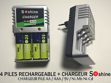 4 PILES ACCUS RECHARGEABLE AA LR06 1.2V 3900mAh Ni-Mh + CHARGEUR SOSHINE 2016
