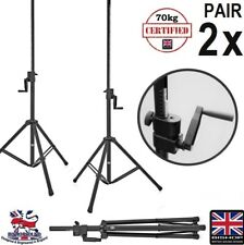 Heavy Duty Wind Up Speaker Stands 35mm 70kg Winch up 2.3m Lift PAIR - All Metal