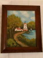 Vintage Wood Framed Signed Oil Painting Windmill Retro