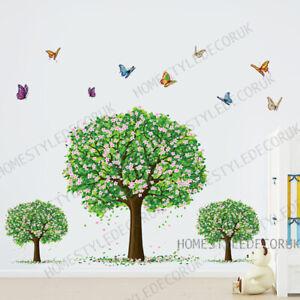 Green Tree Butterfly Wall Sticker Blossom Home Decor Children Kids Nursery Decal