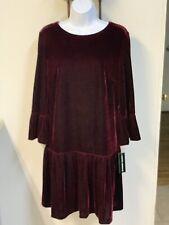 Womens DONNA MORGAN Maroon Red Velvet Dress Size 12 NWT