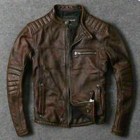 Mens New Biker Vintage Brown Motorcycle Cafe Racer Real Leather Jacket