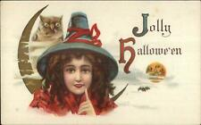 Halloween - Little Girl Witch & Owl Man in the Moon c1910 Postcard